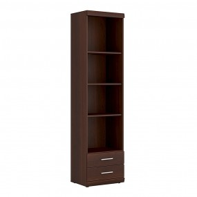 Imperial Tall 2 Drawer Narrow Cabinet with Open Shelving in Dark Mahogany Melamine