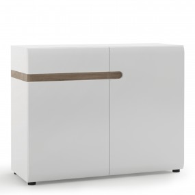 Chelsea Living 1 drawer 2 door sideboard in white with an Truffle Oak Trim