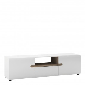 Chelsea Living Wide TV Unit in white with an Truffle Oak Trim