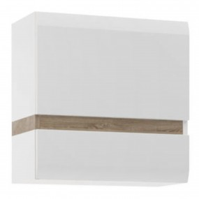 Chelsea Living 1 Door Wall Cupboard (front trim) in white with an Truffle Oak Trim