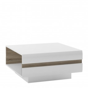 Chelsea Living Small Designer Coffee Table in white with an Truffle Oak Trim