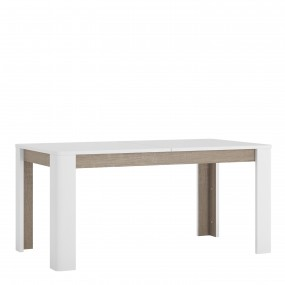 Chelsea Living Extending Dining Table in white with an Truffle Oak Trim