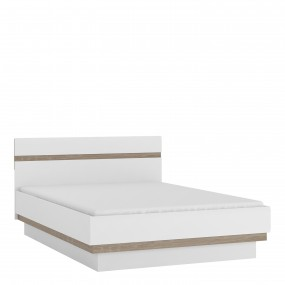 Chelsea Bedroom Double Bed in white with an Truffle Oak Trim