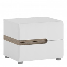 Chelsea Bedroom 2 drawer bedside in white with an Truffle Oak Trim