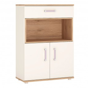 4KIDS 2 door 1 drawer cupboard with open shelf with lilac handles