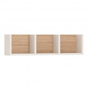 4KIDS 70 cm sectioned wall shelf in light oak and white high gloss