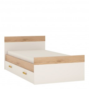 4KIDS Single bed with under drawer with orange handles
