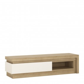 Lyon 1 drawer TV cabinet with open shelf in Riviera Oak/White High Gloss