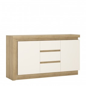 Lyon 2 door 3 drawer sideboard in Riviera Oak/White High Gloss