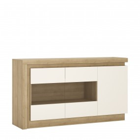 Lyon 3 door glazed sideboard in Riviera Oak/White High Gloss