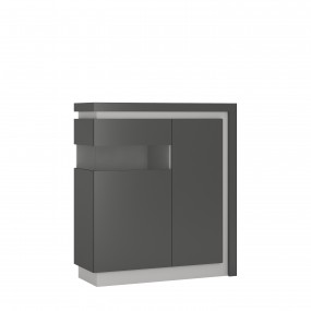 Lyon 2 door designer cabinet (LH) in Platinum/Light Grey Gloss