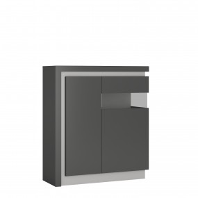 Lyon 2 door designer cabinet (RH) in Platinum/Light Grey Gloss
