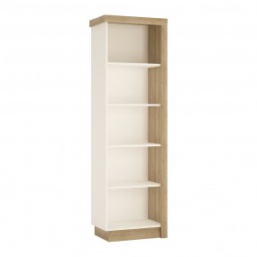 Lyon Bookcase (LH) in Riviera Oak/White High Gloss