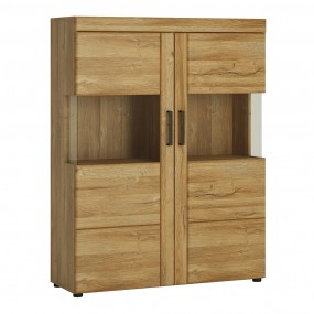 Cortina Low wide 2 door display cabinet in Grandson Oak