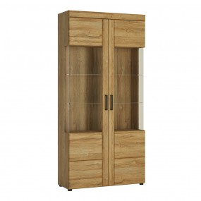 Cortina Tall wide 2 door glazed display cabinet in Grandson Oak
