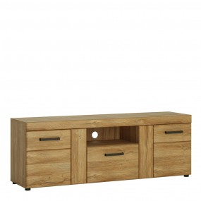 Cortina 2 door 1 drawer tall TV cabinet in Grandson Oak