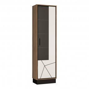 Brolo Tall glazed display cabinet (RH) With the walnut and dark panel finish