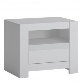 Novi 1 Drawer Bedside Table in Alpine White