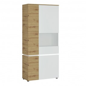 Luci 4 door tall display cabinet RH (including LED lighting) in White and Oak