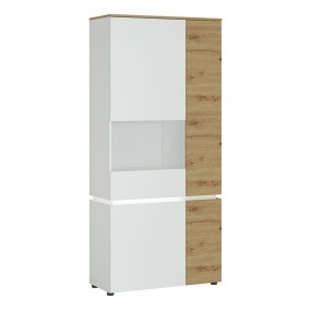 Luci 4 door tall display cabinet LH (including LED lighting) in White and Oak