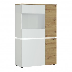 Luci 4 door low display cabinet (including LED lighting) in White and Oak