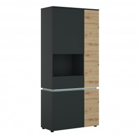 Luci 4 door tall display cabinet LH (including LED lighting) in Platinum and Oak