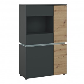 Luci 4 door low display cabinet (including LED lighting) in Platinum and Oak