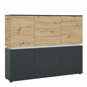 Luci 6 door cabinet (including LED lighting) in Platinum and Oak