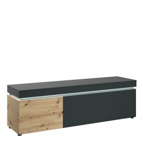 Luci 1 door 2 drawer 180 cm wide TV unit (including LED lighting) in Platinum and Oak