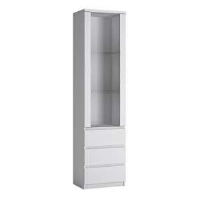 Fribo Tall narrow 1 door 3 drawer glazed display cabinet in White