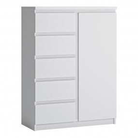 Fribo 1 door 5 drawer cabinet in White