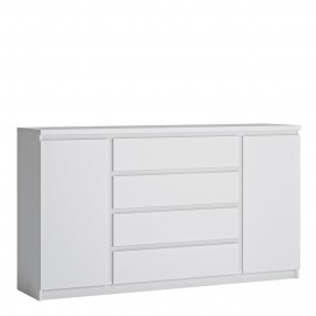 Fribo 2 door 4 drawer wide sideboard in White