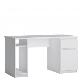 Fribo 1 door 1 drawer twin pedestal desk in White