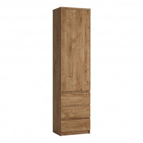 Fribo Tall narrow 1 door 3 drawer cupboard in Oak