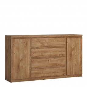 Fribo 2 door 4 drawer wide sideboard in Oak