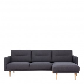 Larvik Chaiselongue Sofa (RH) - Antracit, Oak Legs