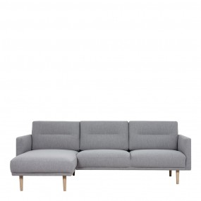 Larvik Chaiselongue Sofa  (LH) - Grey, Oak Legs