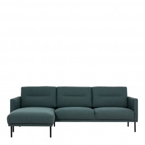Larvik Chaiselongue Sofa (LH) - Dark Green , Black Legs