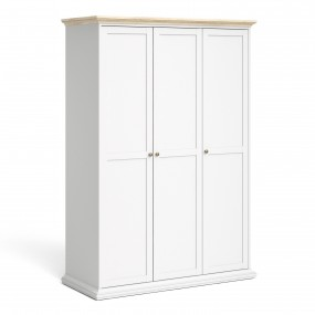 Paris Wardrobe with 3 Doors in White and Oak