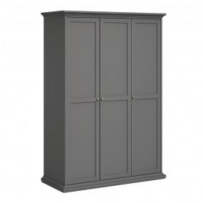 Paris Wardrobe with 3 Doors in Matt Grey