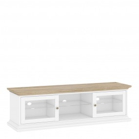 Paris TV Unit - Wide - 2 Doors 1 Shelf in White and Oak