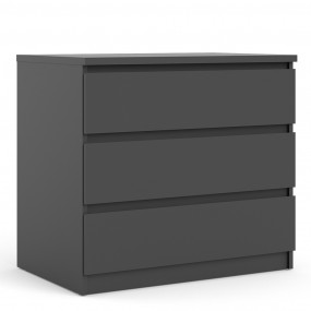 Naia Chest of 3 Drawers in Black Matt