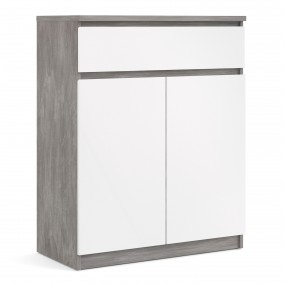Naia Sideboard 1 Drawer 2 Doors in Concrete and White High Gloss