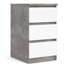 Naia Bedside - 3 Drawers in Concrete and White High Gloss