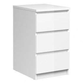 Naia Bedside - 3 Drawers in White High Gloss