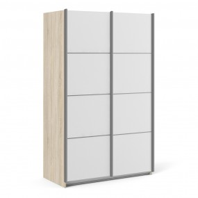Verona Sliding Wardrobe 120cm in Oak with White Doors with 5 Shelves