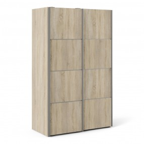Verona Sliding Wardrobe 120cm in Oak with Oak Doors with 5 Shelves