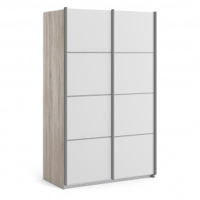 *Verona Sliding Wardrobe 120cm in Truffle Oak with White Doors with 5 Shelves