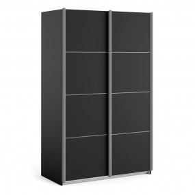 Verona Sliding Wardrobe 120cm in Black Matt with Black Matt Doors with 2 Shelves