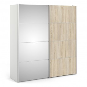 Verona Sliding Wardrobe 180cm in White with Oak and Mirror Doors with 2 Shelves
